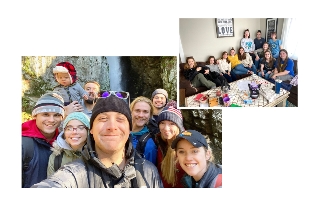 group selfie in front of waterfall, community group sitting together on couch