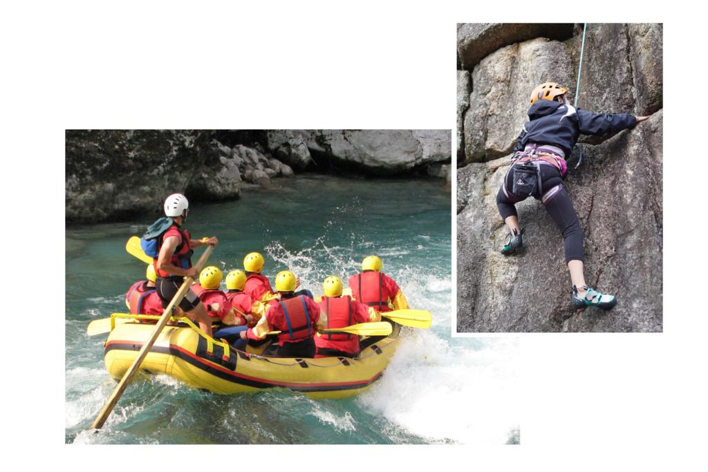 group rafting down river, girl climbing rock face